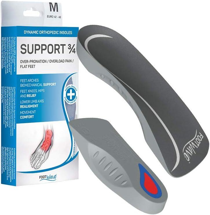 FootWave - Plantillas ortopédicas dinámicas de apoyo 3-4 exceso de pronación de dolores de sobrecarga, pie de dilatación