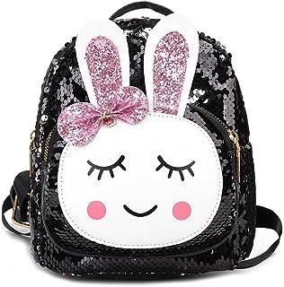Hamkaw Flip Sequin Backpack for Girls, Magic Rabbit Reversible Sequin Students School Shoulder Bag - Sparkly Color Changing Rainbow Glitter Mermaid Lightweight Travel Backpack