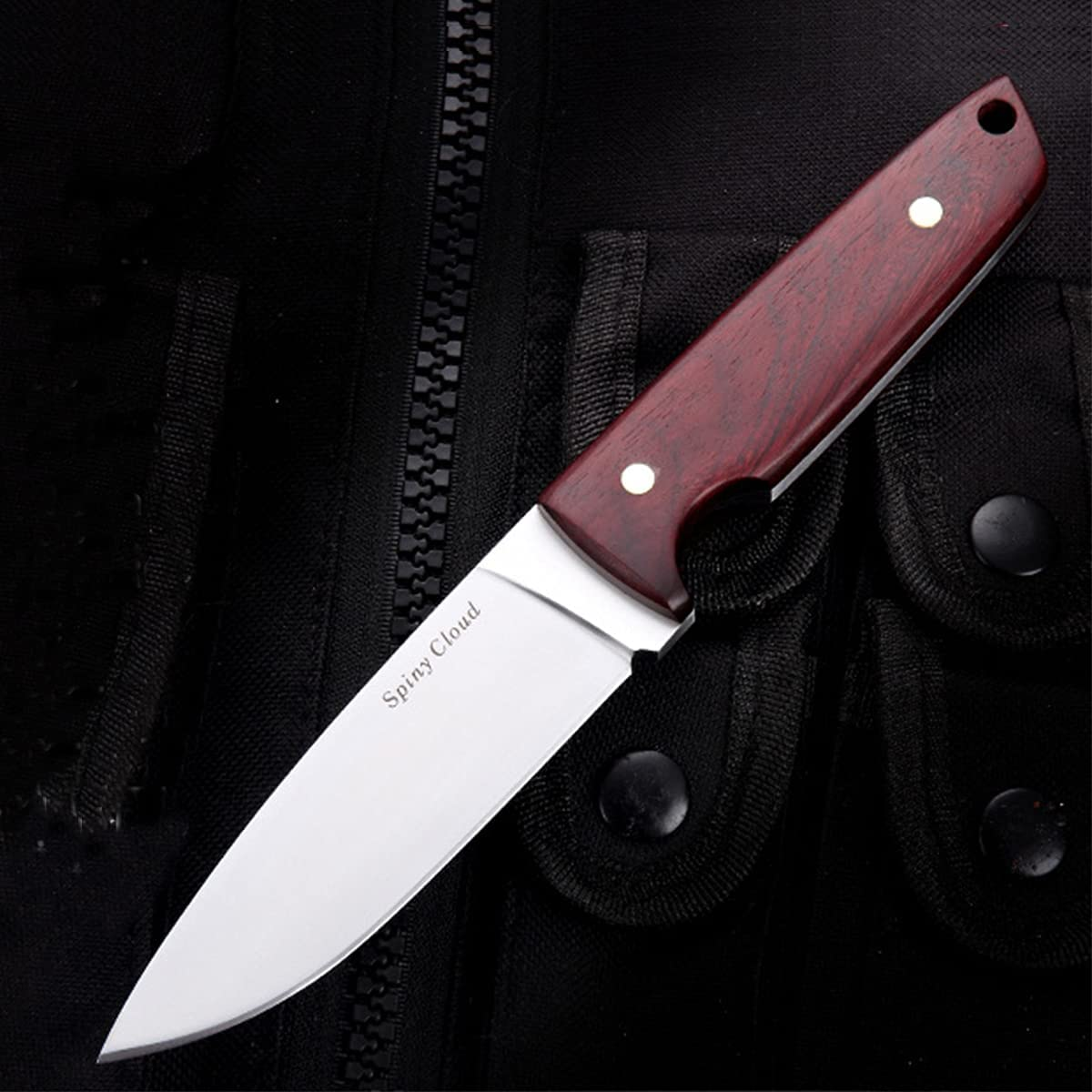 Fixed Blade Hunting Knives with Sheath, 8.5 inch Full Tang Camping Knife with Leather Sheath, Rosewood Handle for Camping, Bushcraft, Tactical, Fishing, Survival