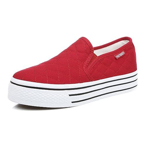9a8bebdb630 Aisun Women s Slip On Platform Loafers Canvas Shoes Sneakers