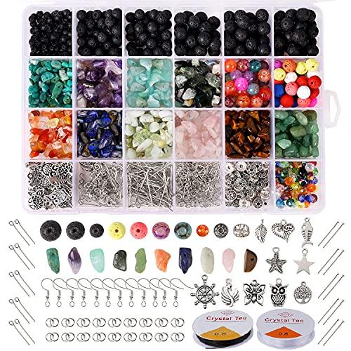 Hongyans 1068 Piezas Cuentas de Piedra Lava Naturales Cuentas de Piedras Preciosas Irregulares Kit de Fabricación de Joyas Bricolaje para Manualidades de Bricolaje Pulseras Pendientes Collares