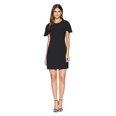Adelyn Rae Rebecca Woven Cape Sheath Dress (Black) Women