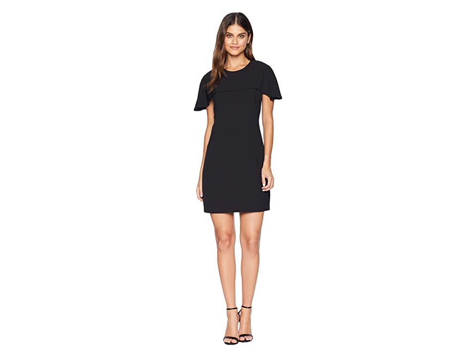 Adelyn Rae Rebecca Woven Cape Sheath Dress (Black) Women