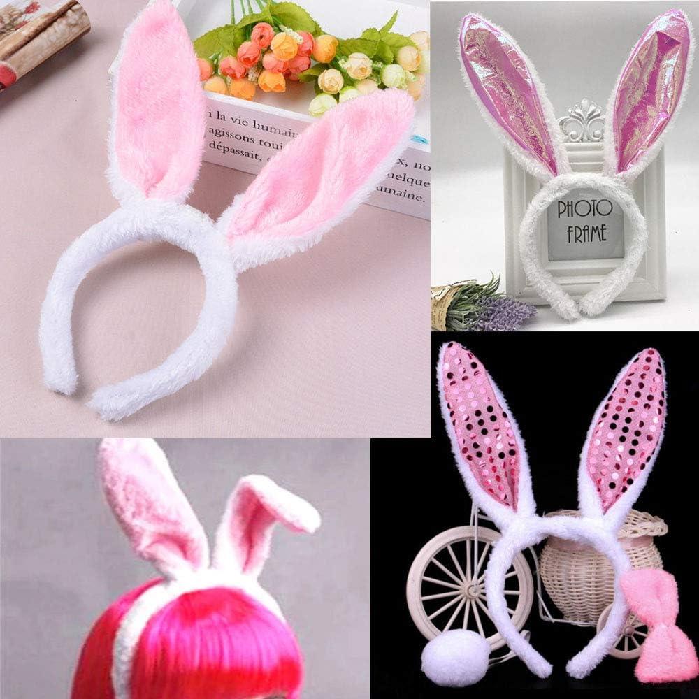 jenich Lot de 4 serre-t/êtes en peluche avec oreilles de lapin et n/œud papillon et queue de lapin carnaval Costume de cosplay Pour P/âques Blanc et rose