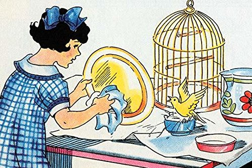 A young girl cleans the birdcage as the bird waits impatiently. Poster Print by Julia Letheld Hahn (24 x 36)