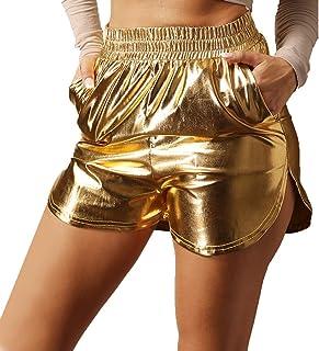 Mxssi Pantaloni Corti Metallici Lucidi delle Donne Allentati Bicchierini di Sport della Vita Solidi Larghi Allentati Pantaloncini da Ballo di Allenamento della Palestra