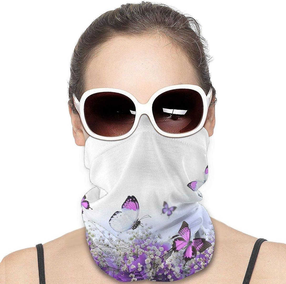 KiuLoam Women Bandanas Face Mask, Blue Hydrangeas Flowers and Butterfly Neck Gaiter Mask Headband for Men Face Scarf Dust, Outdoors, Sports