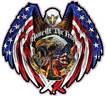 American Bald Eagle Home of The Free Because of The Brave Reflective Decal 6  in Size from The United States.