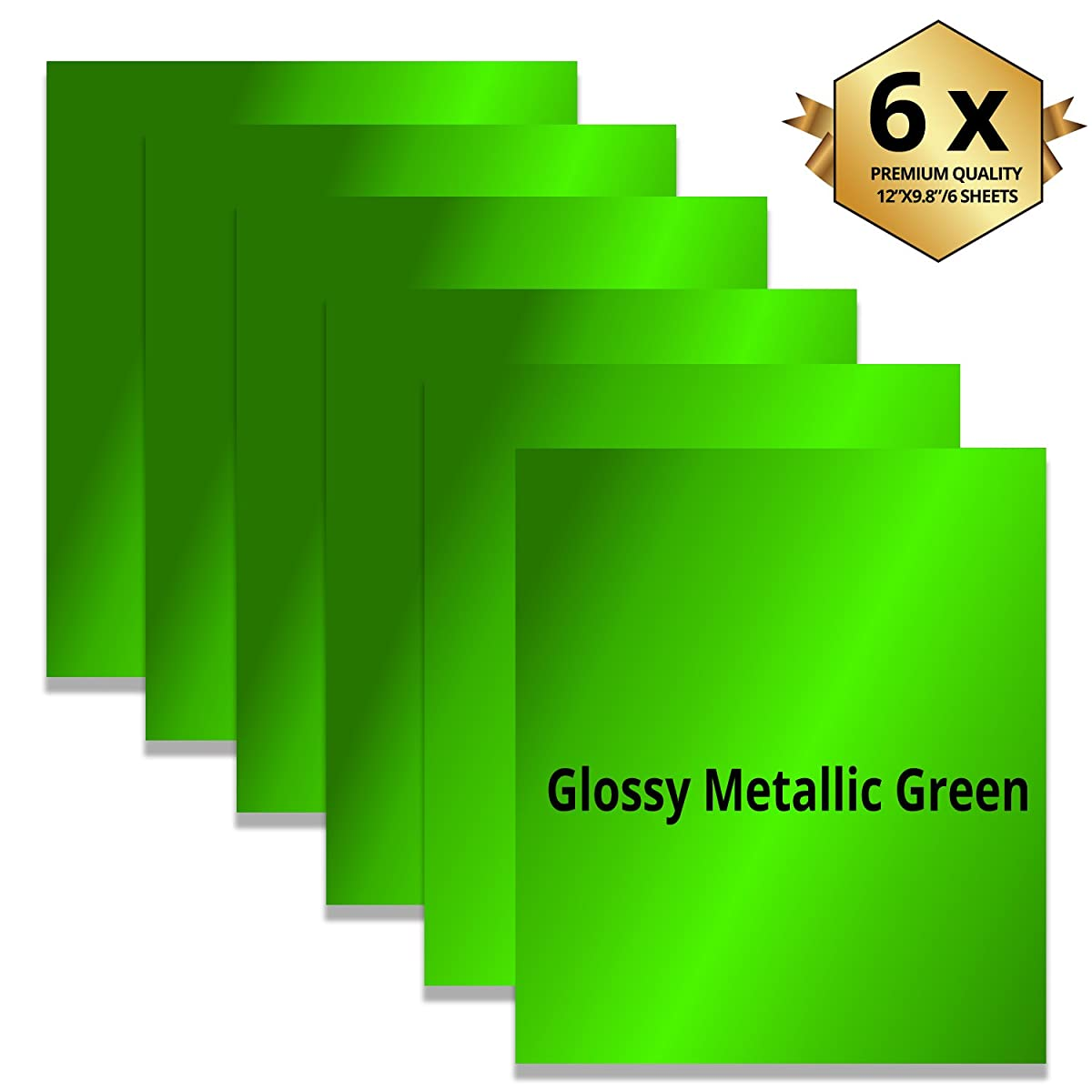 Metallic Green Foil Heat Transfer Vinyl Sheets 6 Pieces -Best Iron On HTV Vinyl for Silhouette Cameo, Heat Press & Cricut Machines