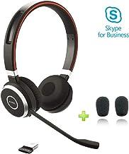 Jabra Evolve 65 Bluetooth Headset Bundle for PC - Mobile, Compatible w/Microsoft Teams, Skype, Windows PC, Tablet, MAC, Smartphone, Streaming Music, Voice - Video Apps, Bonus Cushions, 6599-823-309-C
