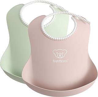 BABYBJÖRN Baby Bib, 2-pack, Powder Green/Powder Pink
