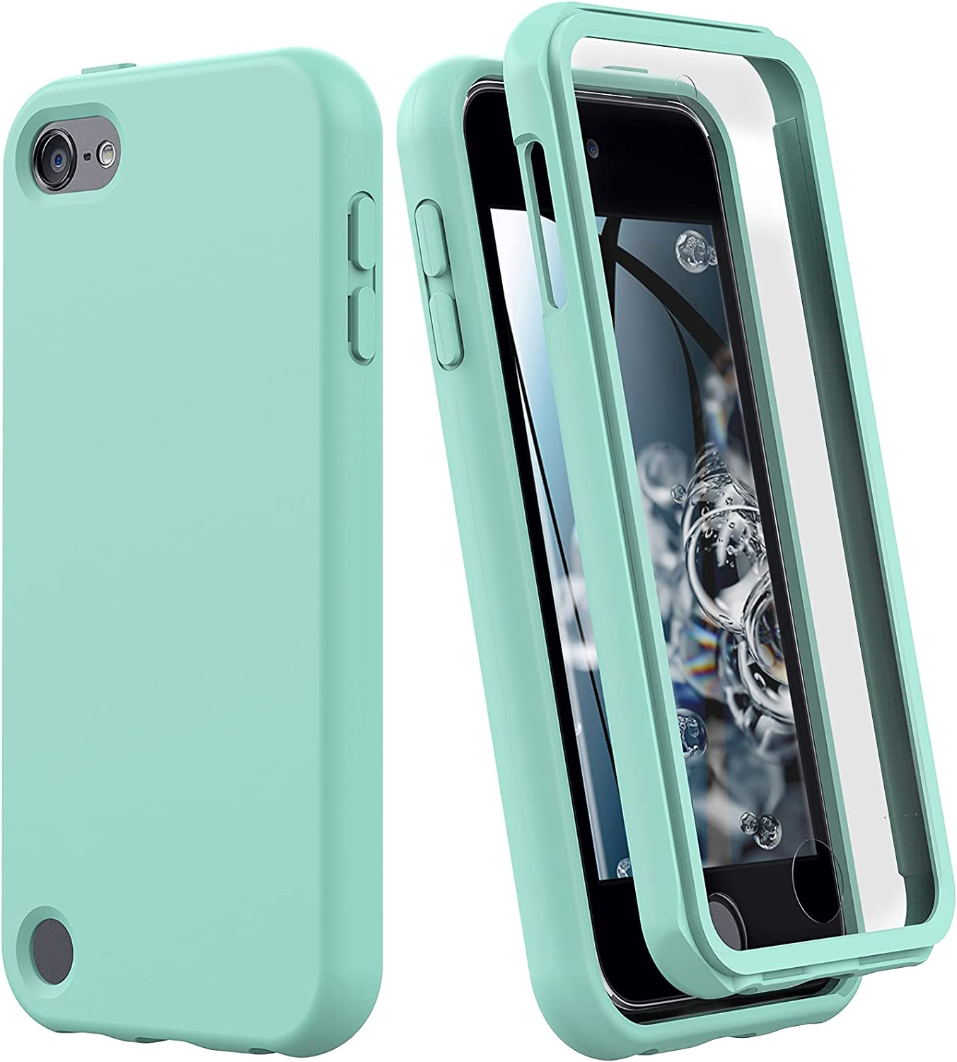 iPod Touch 7 Case, iPod Touch 6 Case, Shockproof Silicone Case [with Built in Screen Protector] Full Body Heavy Duty Rugged Defender Cover for Apple iPod Touch 7th/6th/5th Generation (Mint Green)