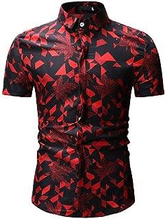 Men's Shirts Summer Fashion Printed Slim Short Sleeve T-Shirts Casual Single Breasted Tops