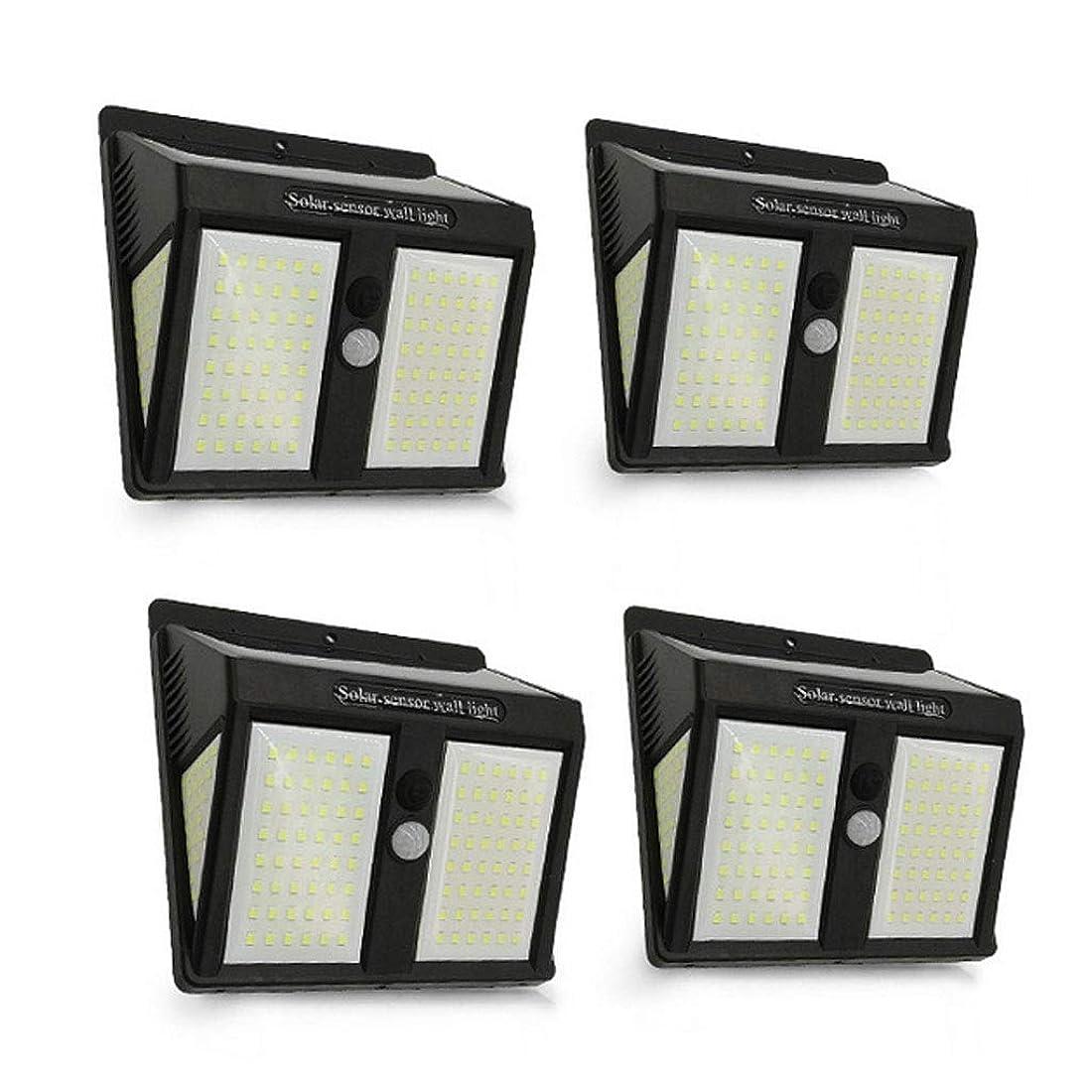 焦げ大きさハンディキャップ46 LEDソーラーセキュリティライトソーラーモーションセンサーライトソーラーパワードライト防水ウォールライト3モード付きガーデン、フェンス、4パック