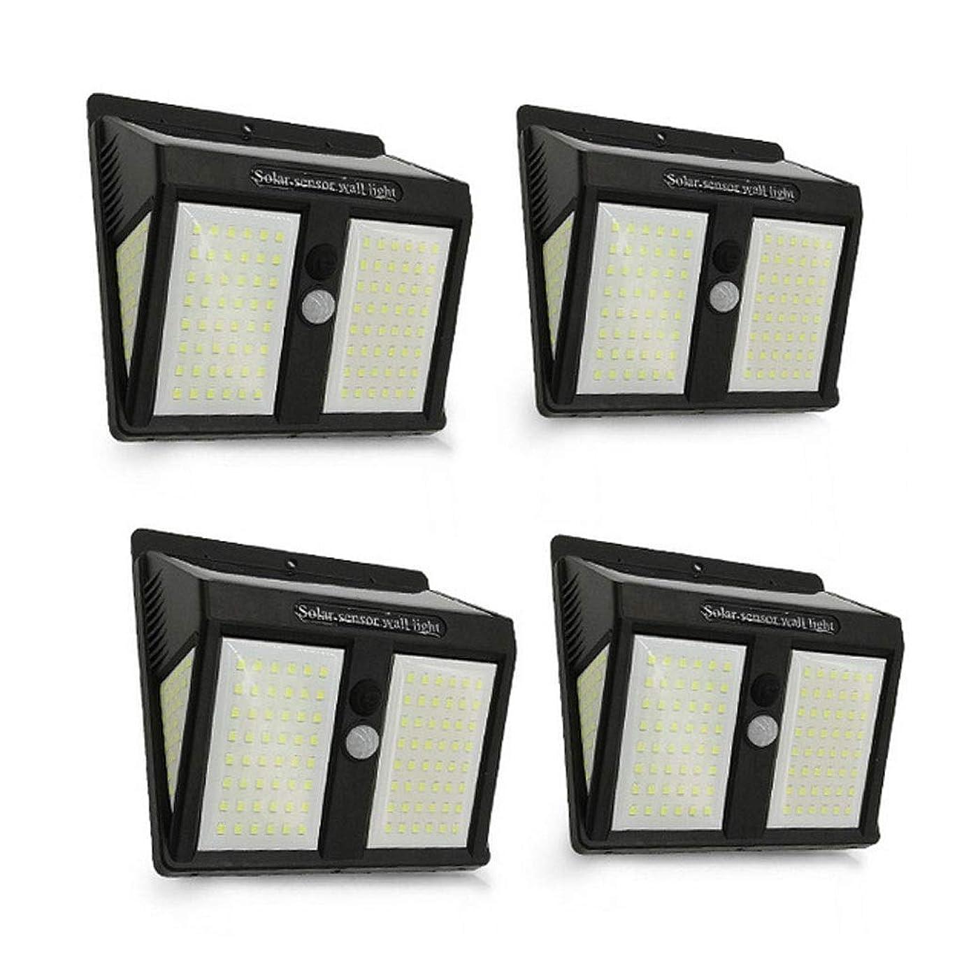 ラベル市の中心部ご注意46 LEDソーラーセキュリティライトソーラーモーションセンサーライトソーラーパワードライト防水ウォールライト3モード付きガーデン、フェンス、4パック