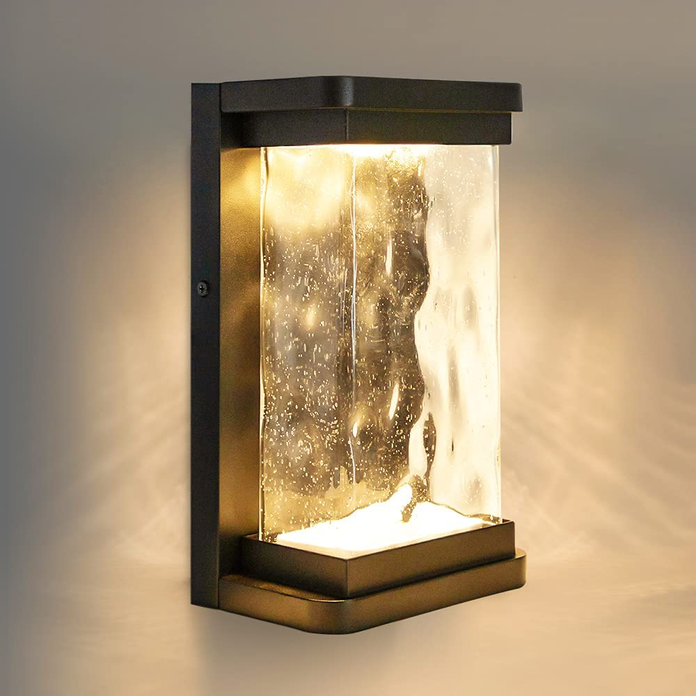 LUTEC Starry 1857 795 Lumen 3000K LED Wall Light with Seeded Glass, Modern Porch Light, Indoor Outdoor Sconce Wall Lighting