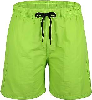Geyoga Mens Swim Trunk Moisture-Wicking Men Swimwear Fluorescent Green Men Athletic Swimwear with Pockets and Adjustable D...