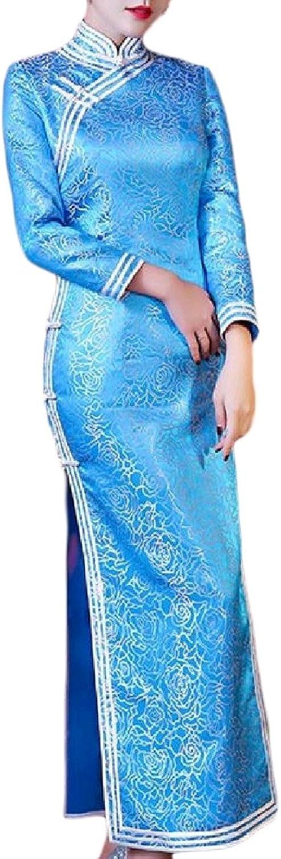 DressUWomen DressU Womens Brocade Side Slit Tunic Slim Fit Cheongsam Long Dress
