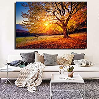 Framed Canvas Wall Art For Living Room Bedroom,Sunset Beautiful Scenery Canvas Painting Nature Landscape Prints And Poster...