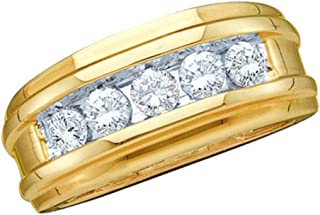 14k White Gold Large 5 Five Stone Classic Channel Set Round Cut Mens Diamond Wedding Ring Band 8mm (1/4 cttw)