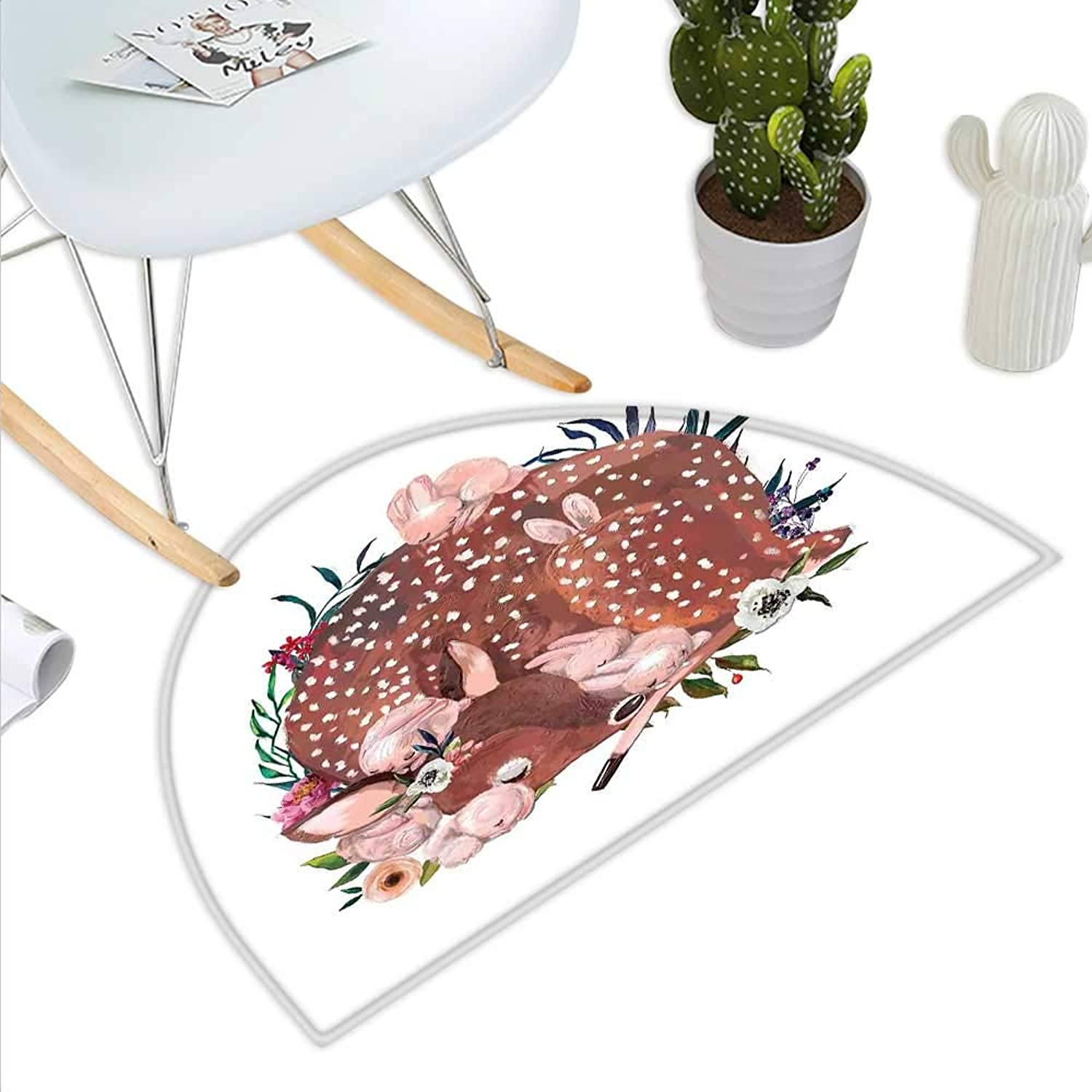 Kids Semicircle Doormat Artistic Illustration of a Deer with Hares Sleeping in The Forest Sweet Wildlife Theme Halfmoon doormats H 35.4  xD 53.1  Multicolor