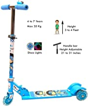 Raawan Kids 3 Wheel Foldable Scooter Cycle with Height Adjustment & Led Light on Wheel(Break and Bell) for Boys and Girls (Blue Color)