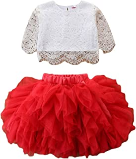 Hopscotch Baby Girls Polyester Solid Top and Skirt Set in Red Color