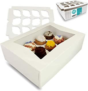 [18 Boxes and 18 Trays Pack] White Cupcake Box with Window and Inserts - Holds 12 Muffins, Auto-Popup Cardboard, Gift and Bakery Packaging, Baking Containers for Cakes, Donuts, Cookies and Pastries