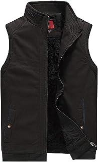 Men's Winter Lightweight Outdoor Fleece Lined Warm Padded Puffer Vest Thick Fishing Sleeveless Jacket