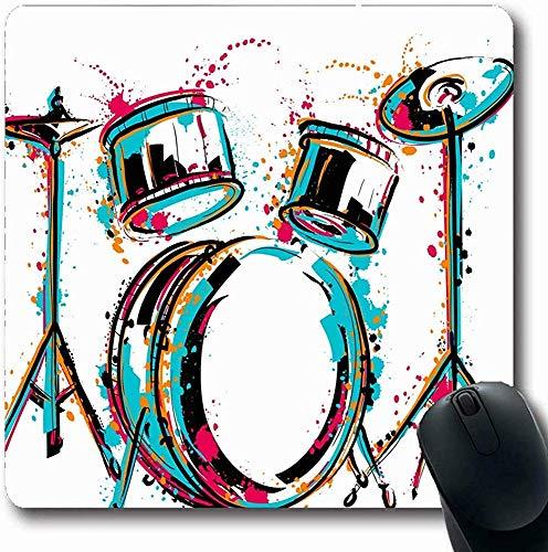 Mousepads für Computer Sketch Drum Kit Spritzer Aquarell Splash Vintage Reggae Schlagzeuger Musik Party Abstrakte Kultur Längliche Form Rutschfeste Längliche Gaming Mausunterlage 30X25CM