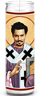 Johnny Depp Celebrity Prayer Candle - Funny Saint Candle - 8 inch Glass Prayer Votive - 100% Handmade in USA - Novelty Celebrity Gift (Johnny Depp)