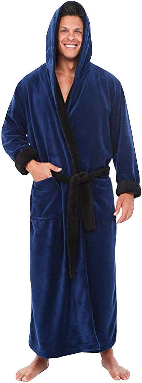 POPLY Men's Bathrobe Plus Sizes Long Sleeved V-Neck Winter Robe Coat Lengthened Home Clothes Plush Shawl Sleep Set