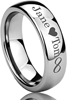 Personalized Outside Inside Engraving Stainless Steel Wedding Band Ring 6MM Polisheded Ring