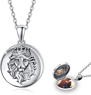 S925 Sterling Silver Vintage 3D Lion Locket Necklace That Holds Pictures Photo Locket Necklace Valentine's Day Thanksgivin...