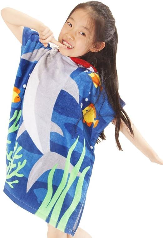 JIAN YA NA Strandtuch aus 100 /% Baumwolle f/ür Kinder mit Kapuze schnell trocknend Poncho f/ür den Strand mit Kapuze Mikrofaser