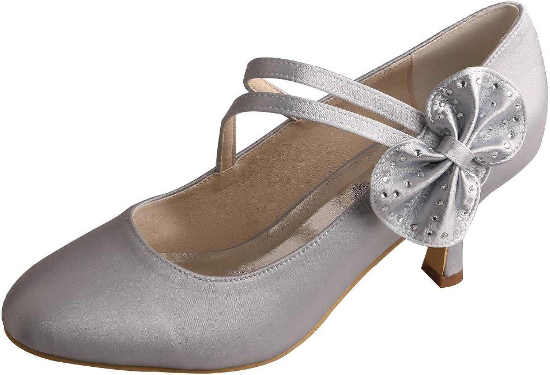 Wedopus MW1251 Women's Round Toe Mary Janes Flower Mid Heel Silver Satin Bride Wedding shoes