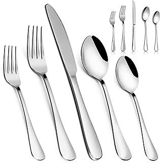 Silverware Set,MASSUGAR 40-Piece Silverware Flatware Cutlery Set, Stainless Steel Utensils Service for 8, Include Knife/Fo...