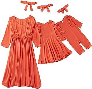 فساتين عيد الميلاد الأم وأمي فساتين عادية الأزهار الأسرة ملابس مخطط خياطة تنورة فساتين ماكسي الشاطئ