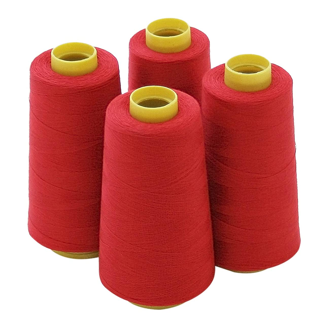 4 Large Cones (3000 Yards Each) of Polyester Threads for Sewing Quilting Serger RED Color From Threadnanny