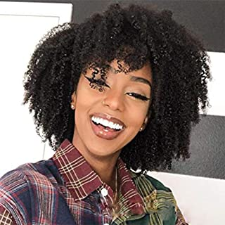 Wowsexy Hair 150% Density Afro Kinky Curly Full Lace Human Hair Wig Free Part Short Bob Brazilian Remy Lace Front Human Hair Wig Natural Color Glueless (8 inch, Lace Front Wig)