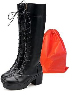 Mille Ti Rana 編み上げ レースアップ 厚底 ロング ブーツ コスプレ ゴスロリ 美脚 保存袋 2点セット (24)