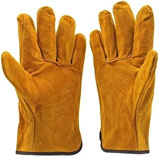 mymerlove A Pair/Set Fireproof Durable Cow Leather Welder Gloves Anti-Heat Work Gloves