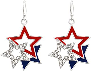 Blue - Red E81 White and Silver Earrings