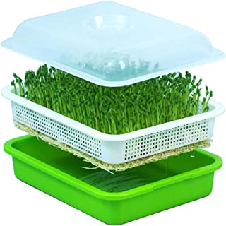 USDREAM Seed Sprouter Tray BPA Free PP Soilless Bean Sprout Grower Seedlings Germination Tray Sprouting Kit for Garden Home Use - Fit for Wheatgrass Soybean Mung Hydroponics Nursery Planting with Lid