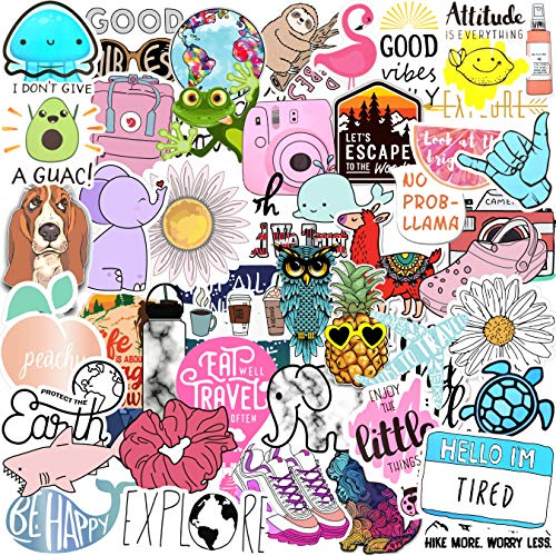 70 VSCO Stickers, Aesthetic Stickers, Cute Stickers, Laptop Stickers, Vinyl Stickers, Stickers for Water Bottles…
