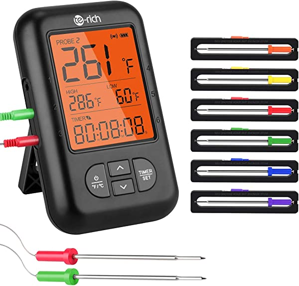 Wireless Meat Thermometer Te Rich Bluetooth Digital Food Grill Thermometer Oven Safe Timer App Connected With 6 Temperature Probe For Smoker Grilling BBQ Turkey Kitchen Cooking Thermometer