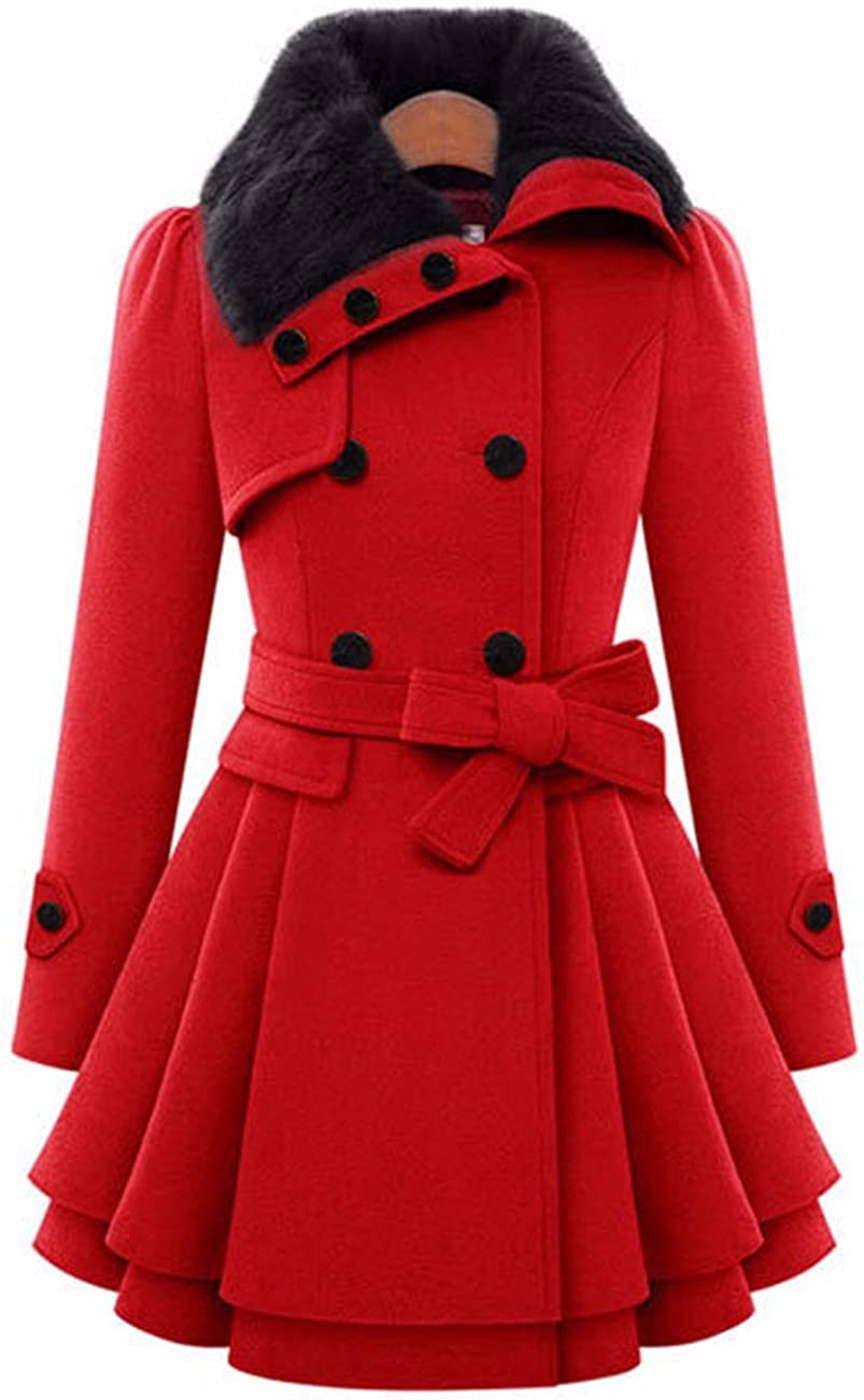 Sexyshine Women's Winter Fashion Faux Fur Lapel Double-Breasted Thick Slim Wool Fleece Blend Trench Coat Jacket