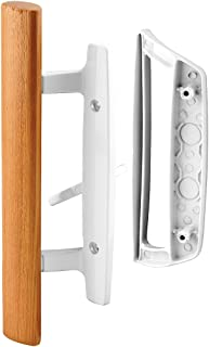 "Prime-Line C 1204 Sliding Glass Door Handle Set – Replace Old or Damaged Door Handles Quickly and Easily – White Diecast, Mortise/Hook Style (Fits 3-15/16"" Hole Spacing)"