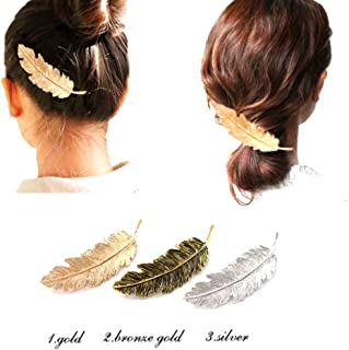 3Pack Leaf Feather Design Punk Women Girls Hair Clips Pin Claw Elegant Hair Barrettes Accessories for Lady(Gold, Silver, Bronze)