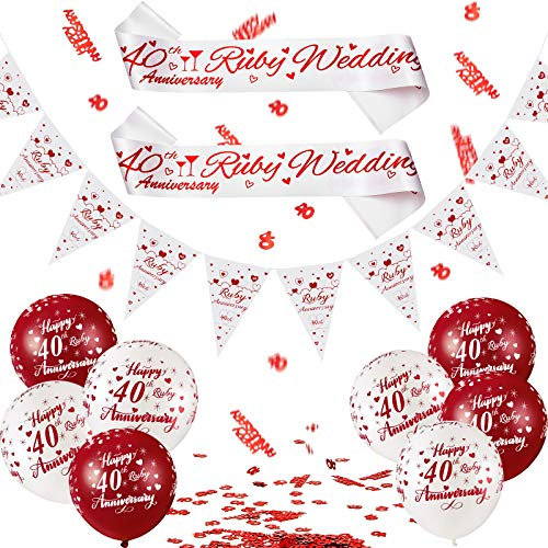 29 Pieces 40th Anniversary Decorations Set Anniversary Banner Bunting Kit...